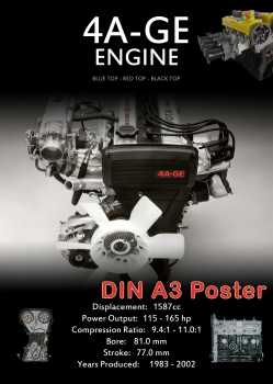 A3 Poster Toyota 4AGE Engine Specs