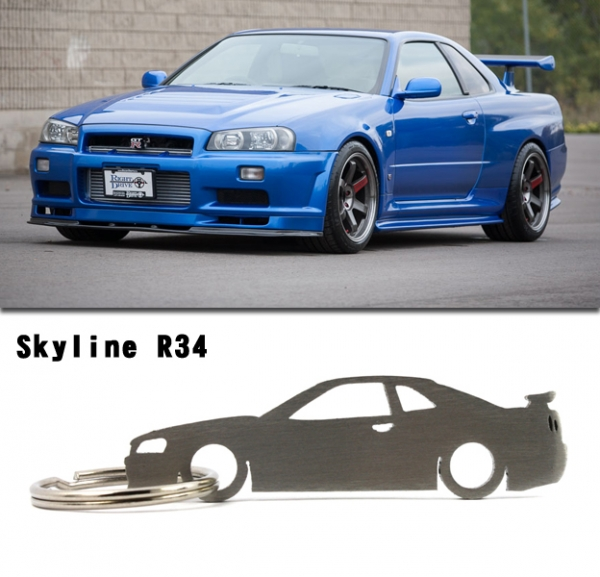 nissan skyline r34 gt r gtt silhoutte metall anh nger. Black Bedroom Furniture Sets. Home Design Ideas
